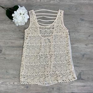 Maurices crochet lace tank top shirt in cream